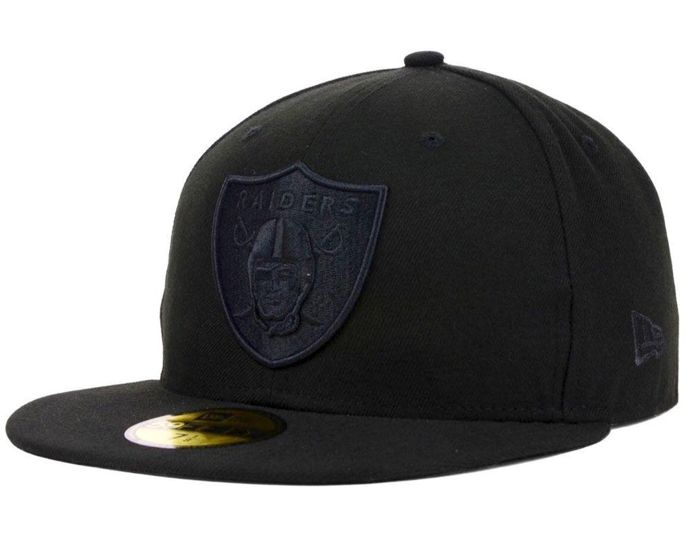 e49d16328 Oakland Raiders New Era 59Fifty NFL Black On Black Fitted 7 3 8 Cap Hat   NewEra  OaklandRaiders