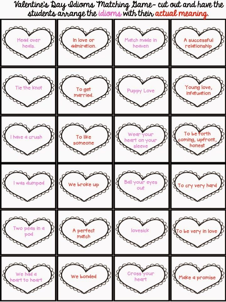 valentine 39 s day idiom game part of my figurative language 3d heart craftivity fancy free in 4th. Black Bedroom Furniture Sets. Home Design Ideas