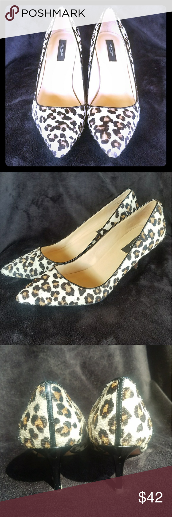 a57aedb57f07 Ann Taylor Reese Leopard Haircalf Pumps  9 MEOW! Leather soled ...