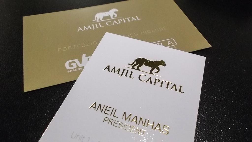 Gold foil #businesscards for Amjil Capital.   Business Cards ...