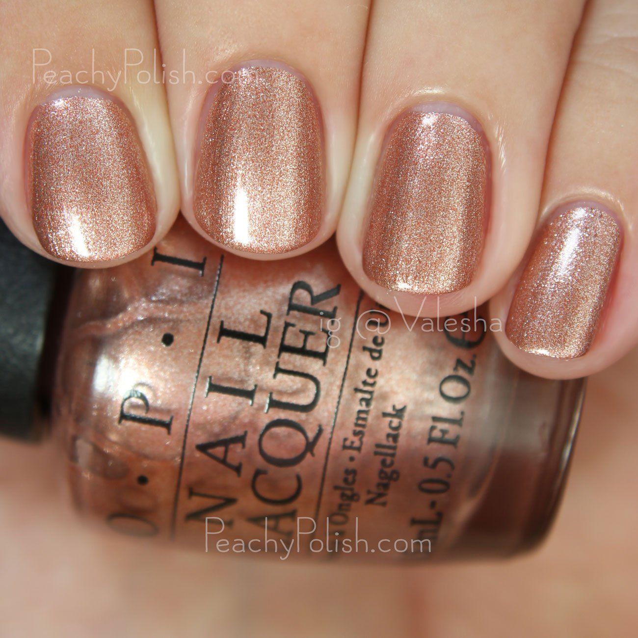 "OPI Worth A Pretty Penne | Fall 2015 Venice Collection | Peachy Polish says ""Worth A Pretty Penne"" is a pale copper foil. This is definitely unique to my collection. Love this in a Fall collection. Great formula too. 2 coats but it's a one-coater."