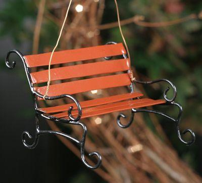 Miniature Dollhouse FAIRY GARDEN Furniture ~ Orange Metal Butterfly Chair Bench