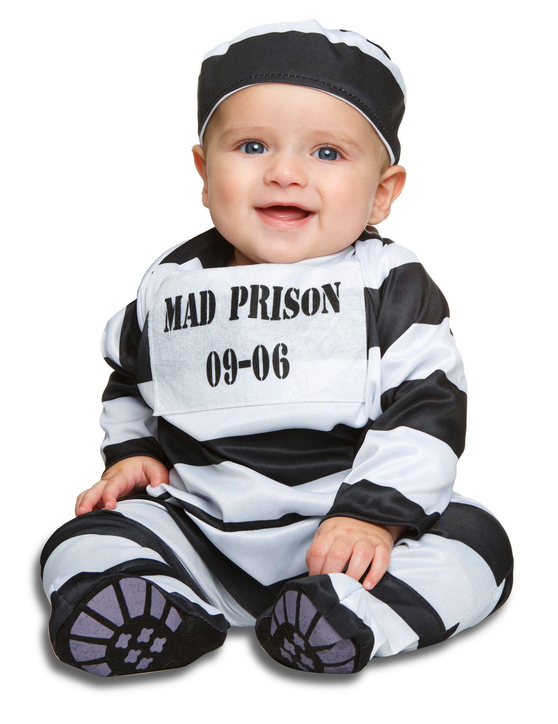 Verbrecher Babykostum Straflingskostum Schwarz Weiss Baby Kostume