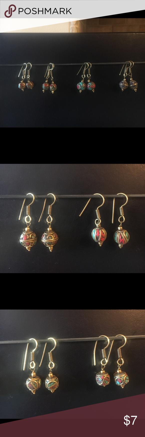 Brass beads hook earrings light ethnic jewelry nwt ethnic jewelry