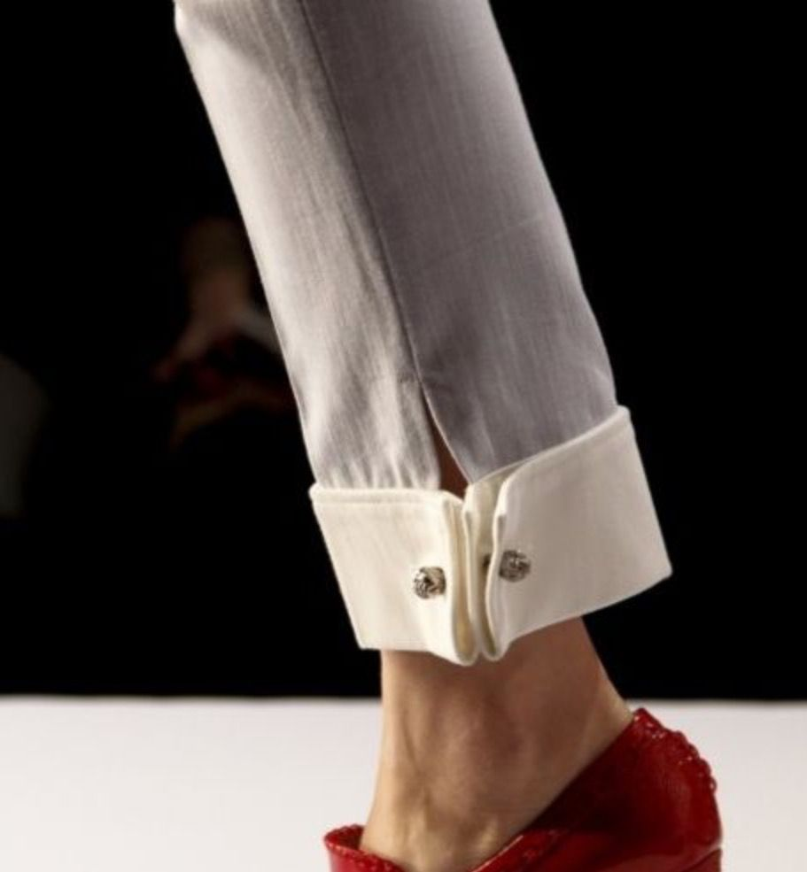 How To Hem Pants With A Cuff Inspiration Diy Hem Detailing Project Victor And Rolf Pant Cuff Refashion Clothes Fashion Pants Fashion
