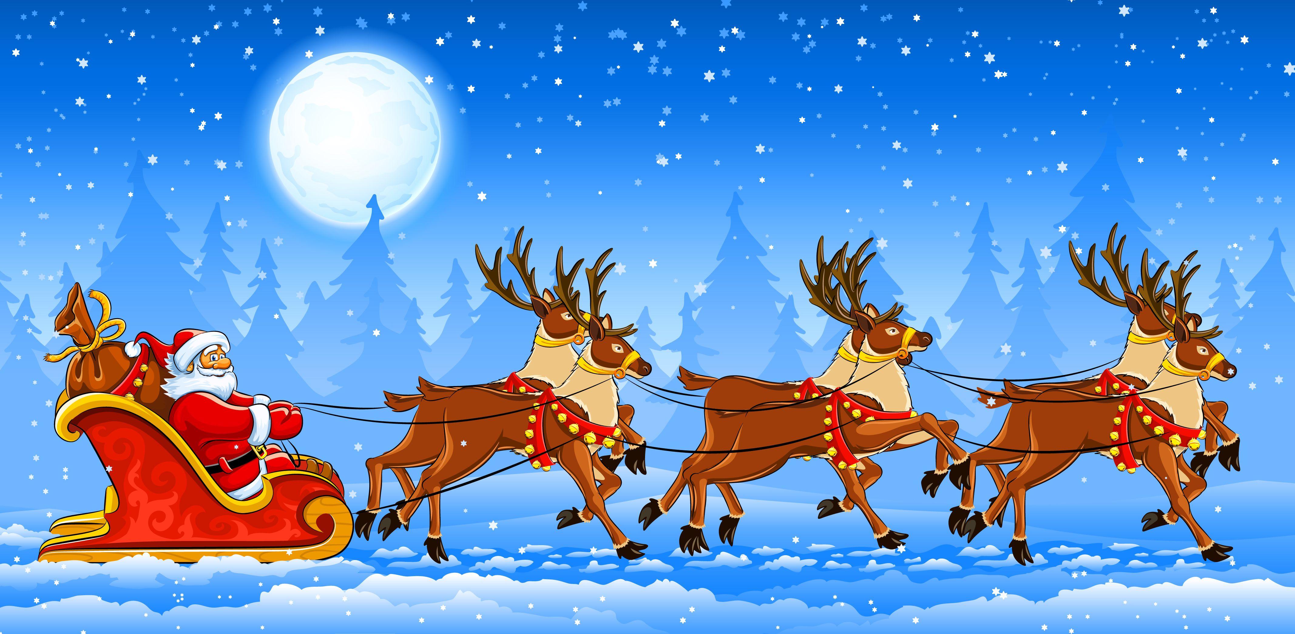 Картинка, открытка санта клаус с оленями
