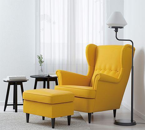 Fauteuil et repose pieds jaunes