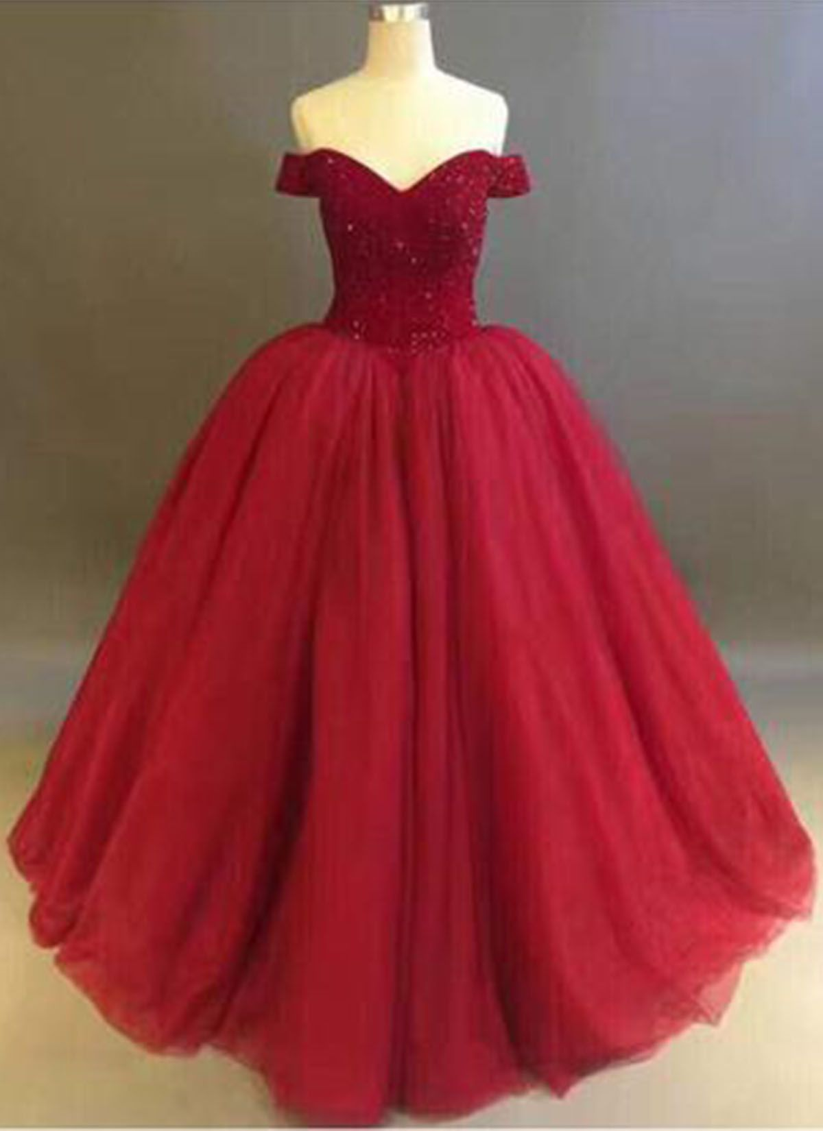 0291d11b70ab Red tulle strapless floor length off shoulder ball gown