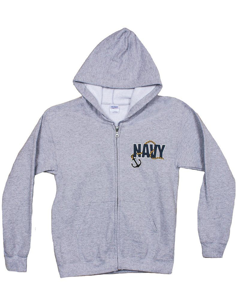 US Navy Insignia Zip Up Hooded Sweatshirt Military Pride  714b8296dd0