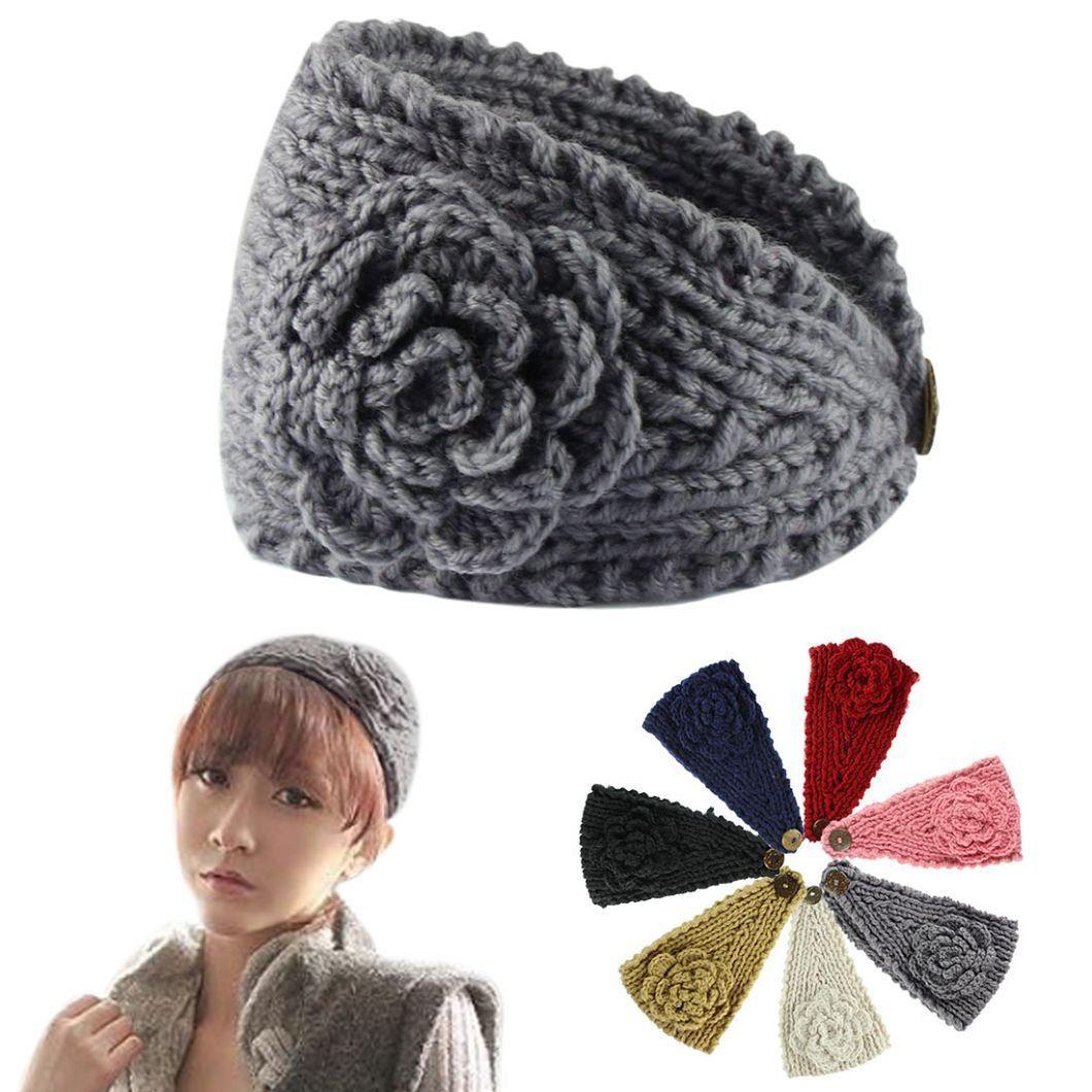 dzt1968 Beautiful Women Crochet Headband Knit Hairband Flower Winter ...