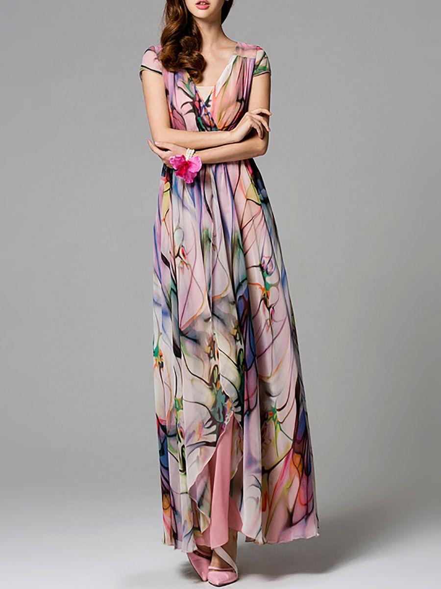 Pink chiffon short sleeve printed maxi dress chiffon maxi print
