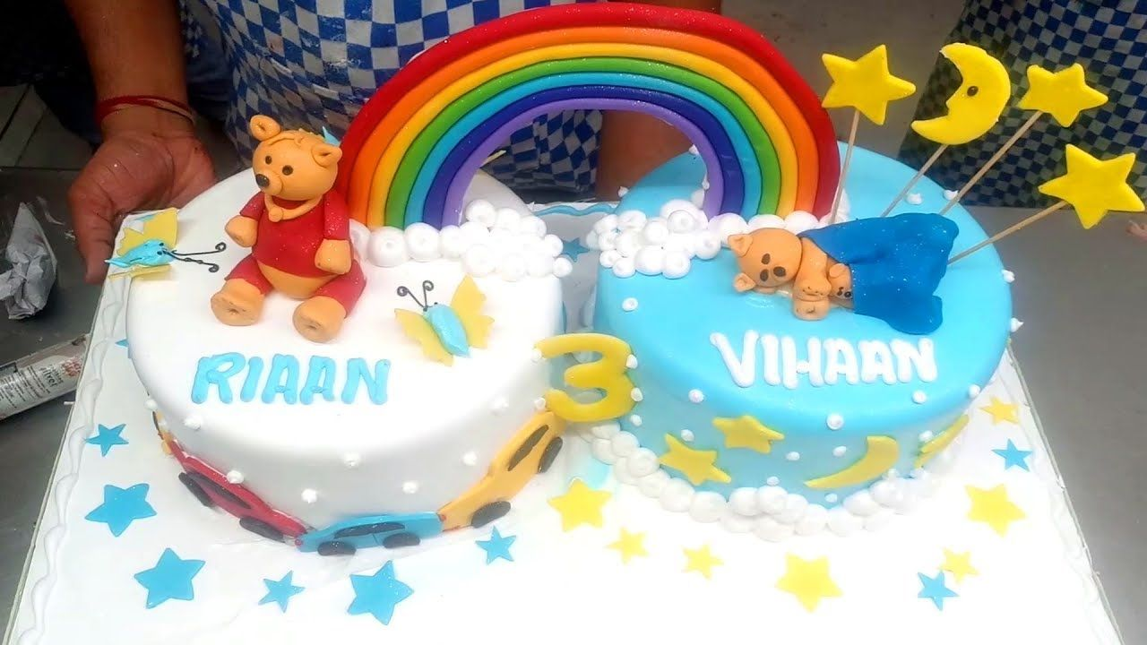 Marvelous Rainbow Twins Teddy Bear Cake Design Kids Birthday Cake Funny Birthday Cards Online Inifofree Goldxyz