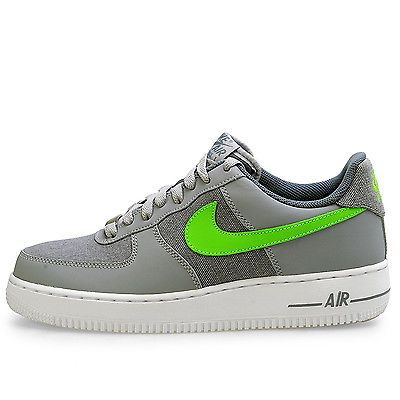 check out 00837 1bac2 Nike Air Force 1 Mens 488298-009 Wolf Grey Action Green Shoes Sneakers Size  13
