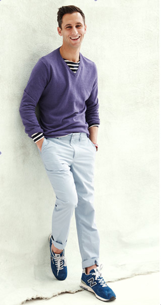Great example of layering a striped nautical L/S Tee with a fine guage v-neck sweater...
