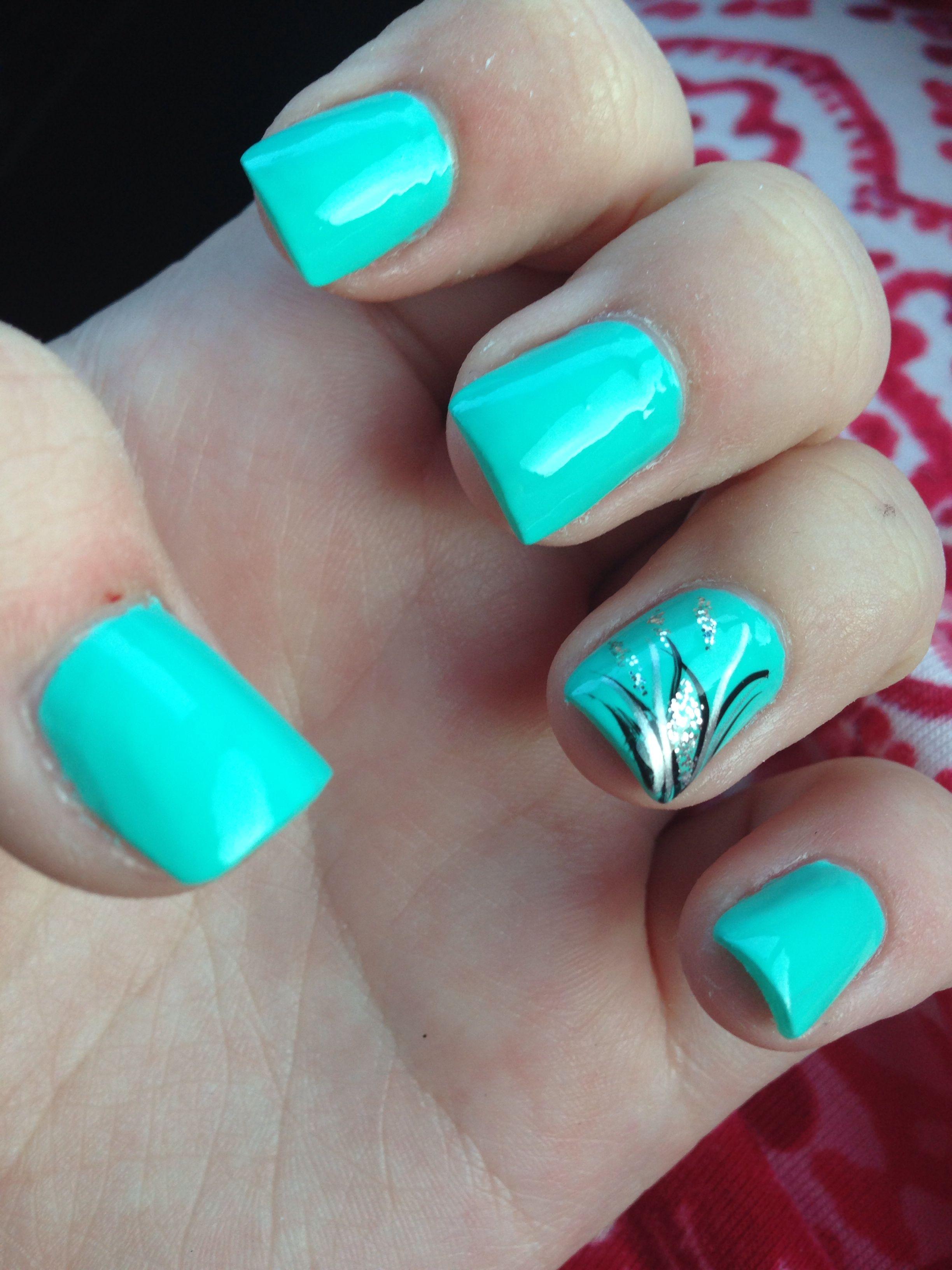 aqua nails with design acrylic