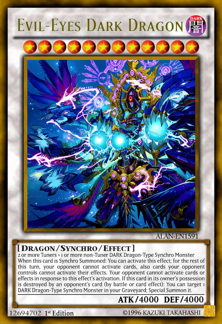 Evil Eyes Dark Dragon By Alanmac95 Custom Yugioh Cards Yugioh