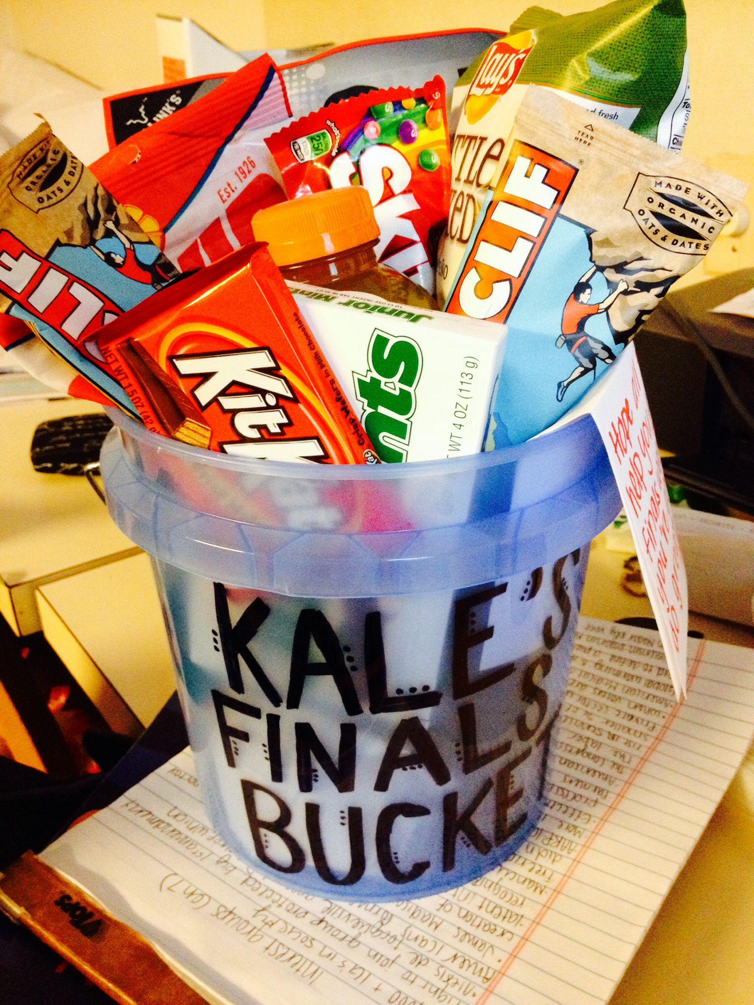 Finals gift basket for guys: chips, beef jerky, sunflower seeds ...