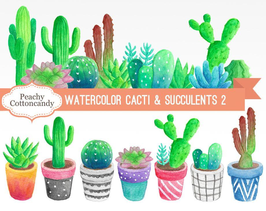 Obtenez Le Aquarelle Cactus Succulentes Clip Art 1 Ici Pour