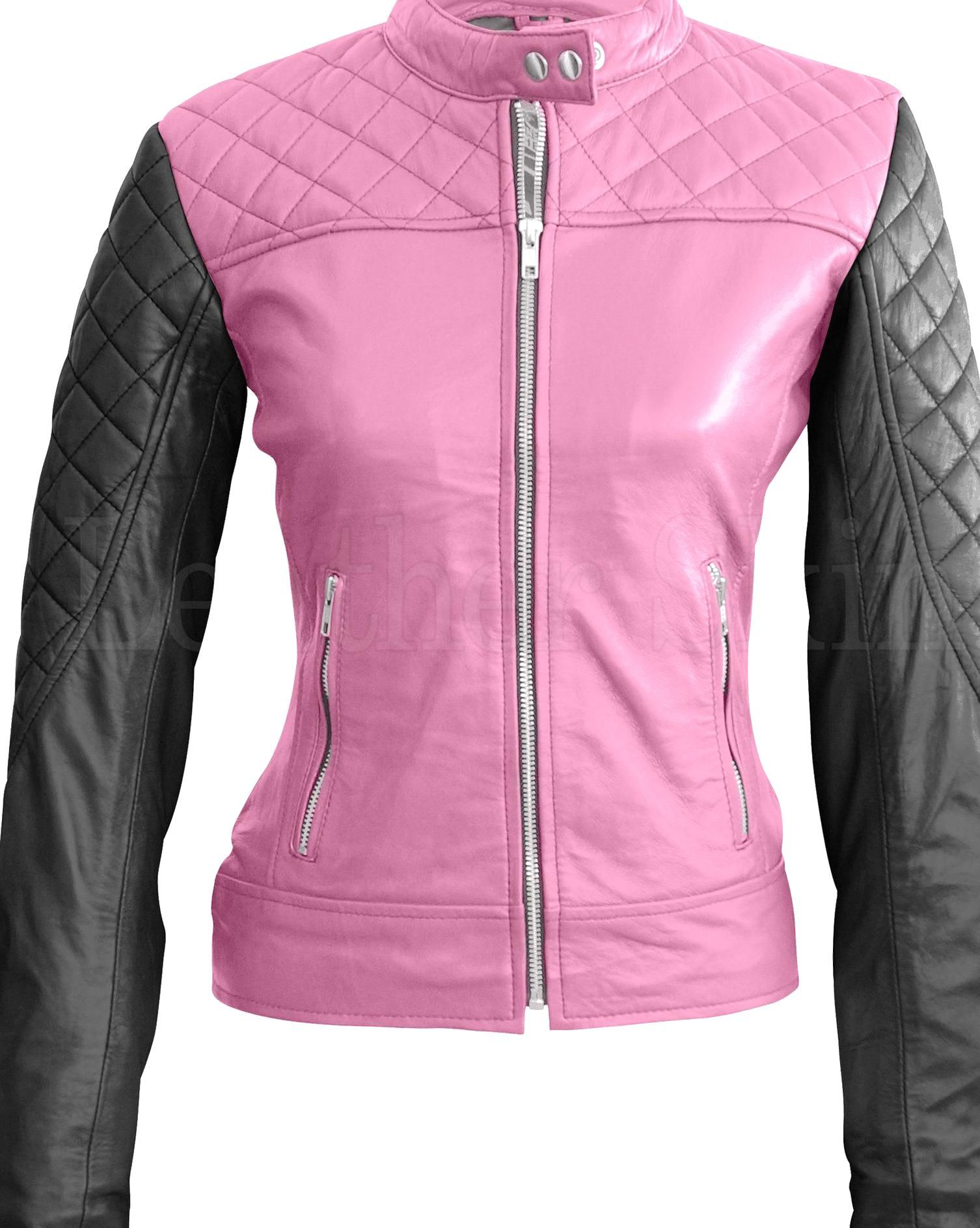 Leather Skin Women Pink With Black Sleeves Shoulder Quilted Genuine Leather Jacket Genuine Leather Jackets Leather Skin Athletic Jacket [ 1886 x 1506 Pixel ]