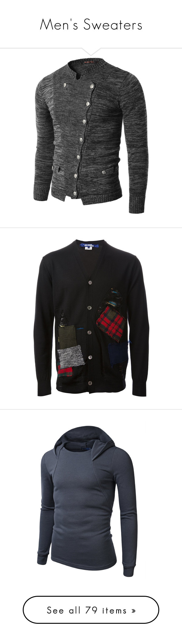 """""""Men's Sweaters"""" by the-walking-doctor ❤ liked on Polyvore featuring men's fashion, men's clothing, men's sweaters, tops, cardigans, men, navy blue cardigan, v-neck tops, button front cardigan and long sleeve tops"""