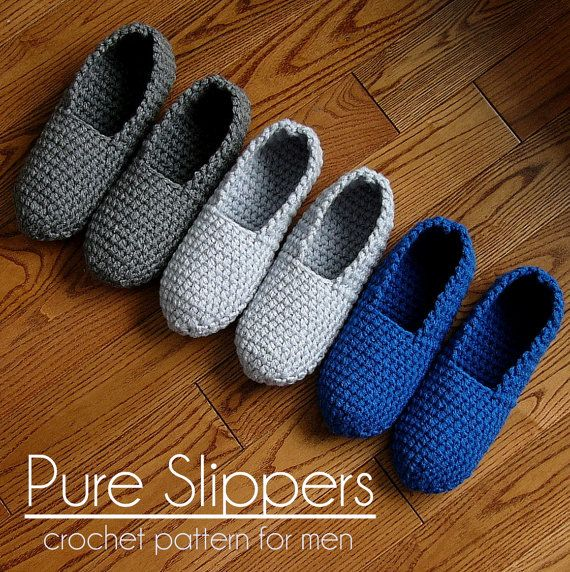 d93ee3ad0875f Crochet Pattern Mens Slippers Men Man basic pure simple easy house ...