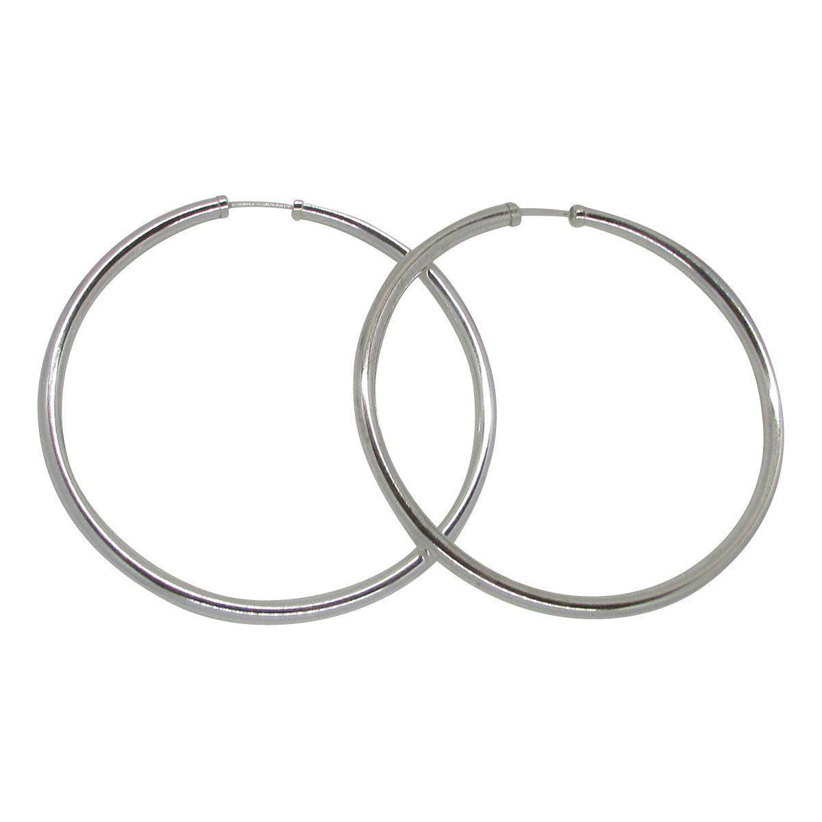 Sterling Silver Thick Endless Continuous Hoop Earrings, 25mm  83mm (4mm  Tube) (