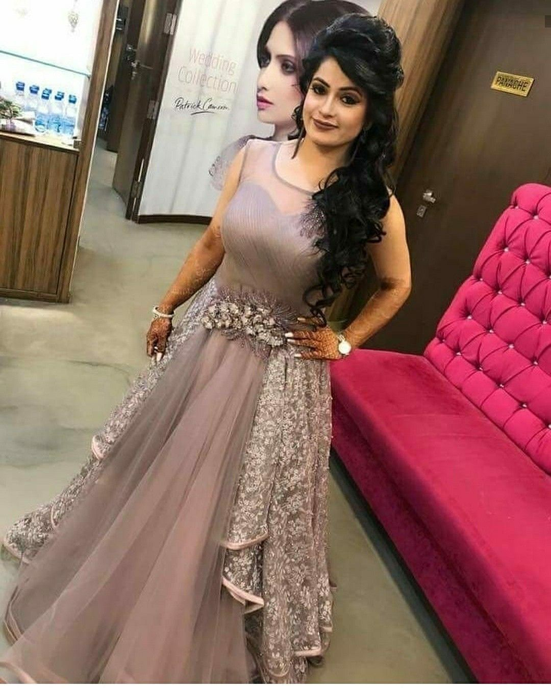 17 Devastatingly Cool Indian Hairstyles Anarkali Bridal Lehe Indian Hairstyles Hairstyles For Gowns Indian Gowns Dresses Indian Wedding Gowns