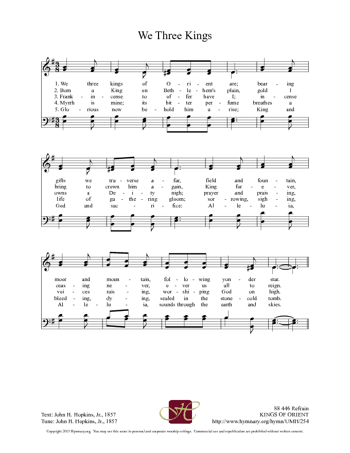 The United Methodist Hymnal 254. We three kings of Orient are - Hymnary.org   Praise songs, We ...