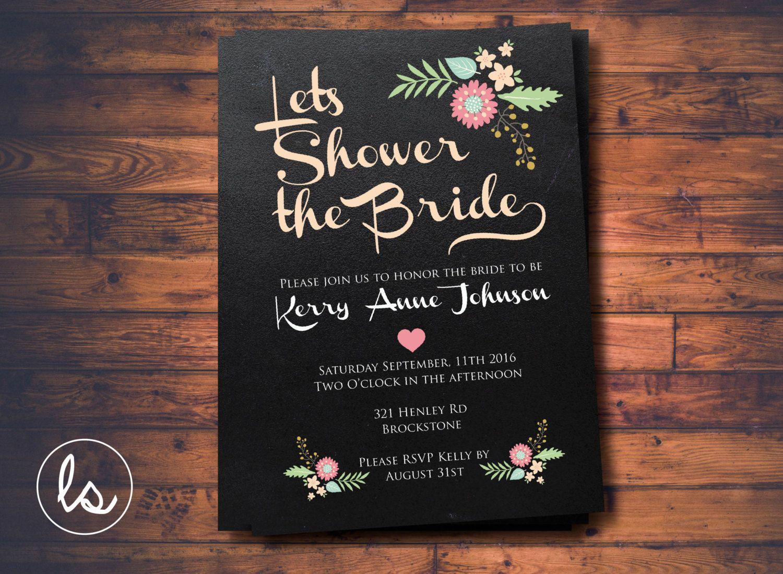 bridal shower invitations free printable templates%0A DIY PRINTABLE   Chalkboard Bridal Shower Invitation   Floral Bridal Shower  Invitation   Engagement Invitation