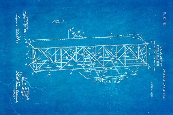 Wright Brothers Flying Machine Patent Art 1906 Blueprint Art Print - best of golf blueprint art
