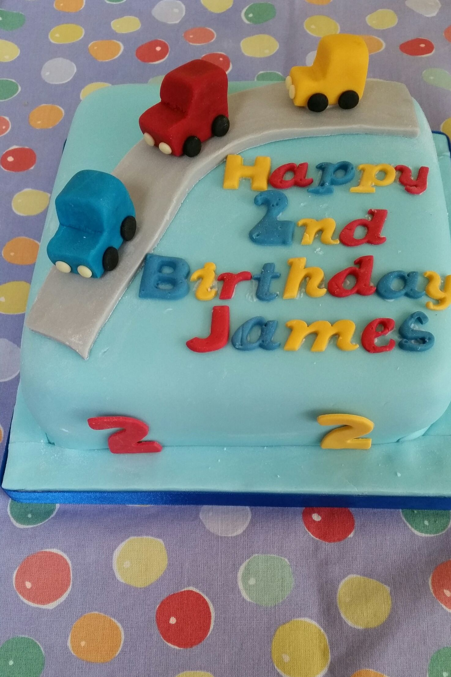 2 Year olds Birthday cake Chocolate Cake with cars theme in