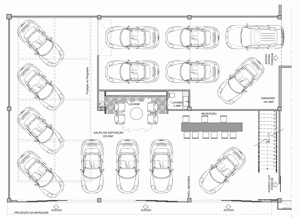 Architecture Drawing Cars gallery of showroom eurobike - porsche / 1:1 arquitetura:design