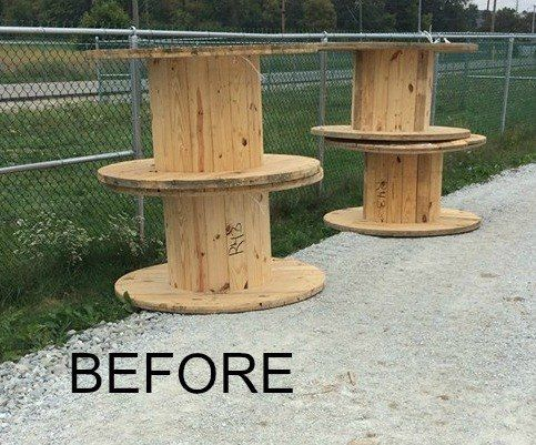 My brother in law had some of these wood spools lying for Wooden reel furniture