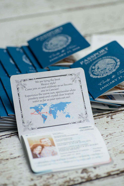 Passport Invitation for a destination wedding - Custom made invites |  Handmade in Canada by ---- www.empireinvites.ca | Invitacion boda  originales, Invitaciones de pasaporte, Invitaciones matrimonio