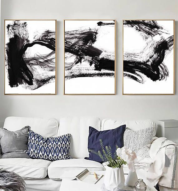 Set Of 3 Black White Abstract Print Set Of 3 Prints Etsy Black And White Abstract White Art Abstract Wall Art