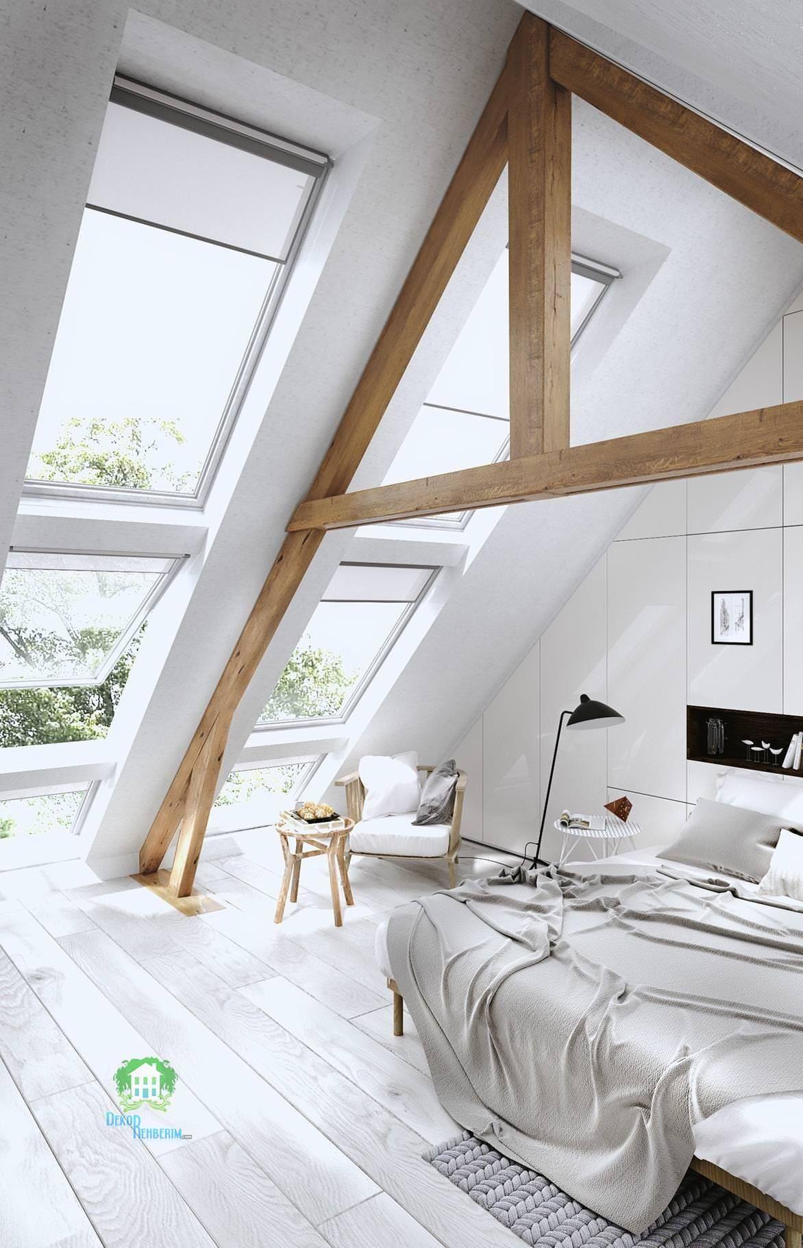 Beyaz çatı Katı Yatak Odası Modelleri