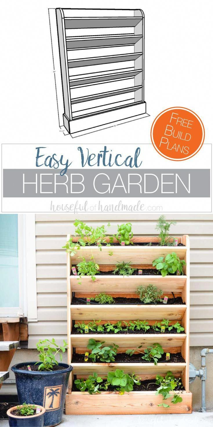 DIY Vertical Garden with Drip Watering System #outdoorherbgarden