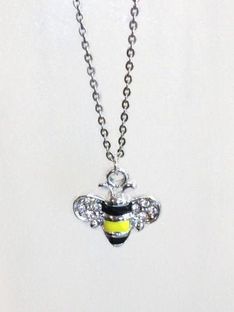Photo of Rhinestone Bumble Bee Necklace | Etsy