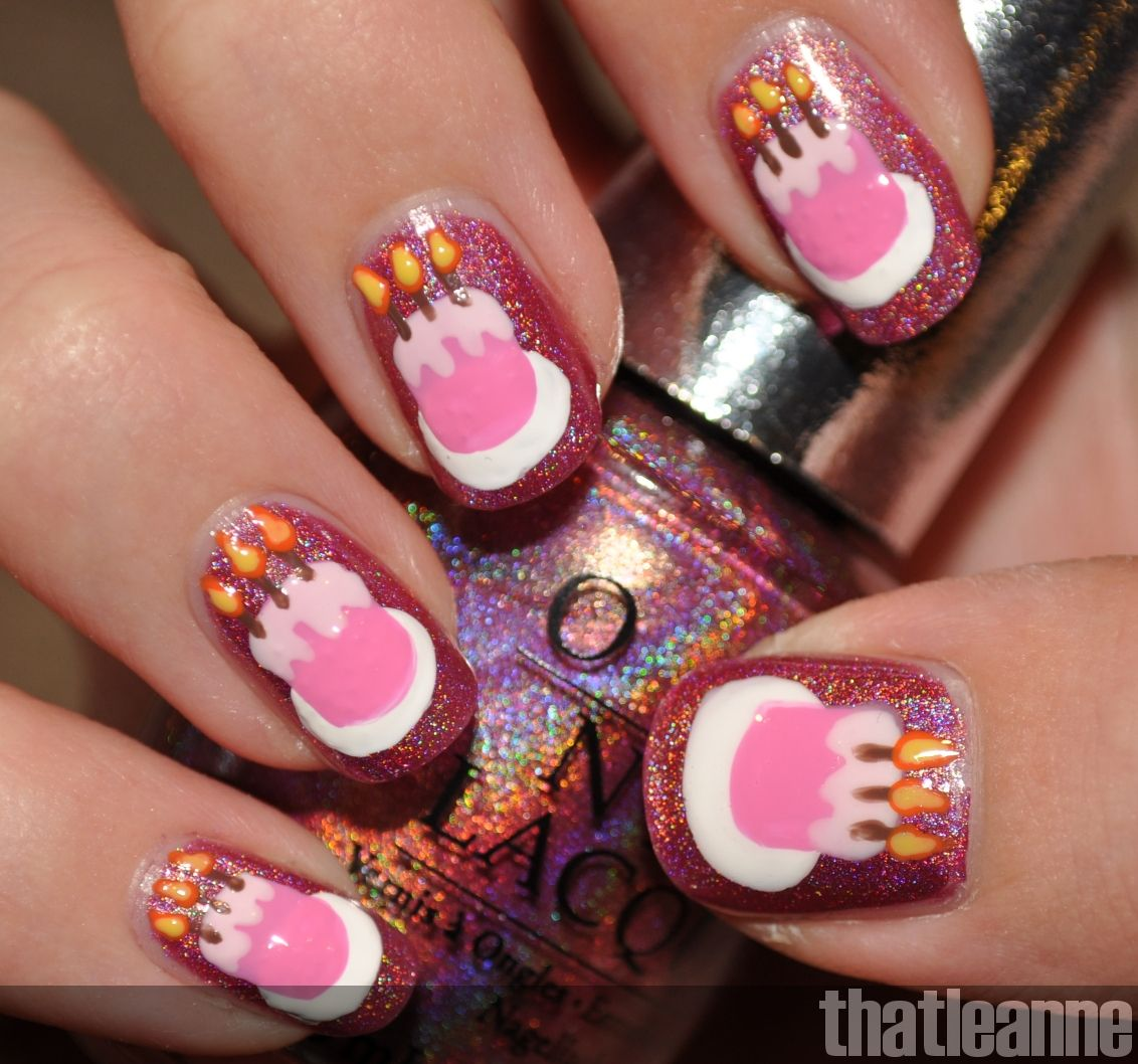 Thatleanne Chococat Nail Art: Thatleanne: Birthday Cake Nail Art Feat. OPI DS Signature