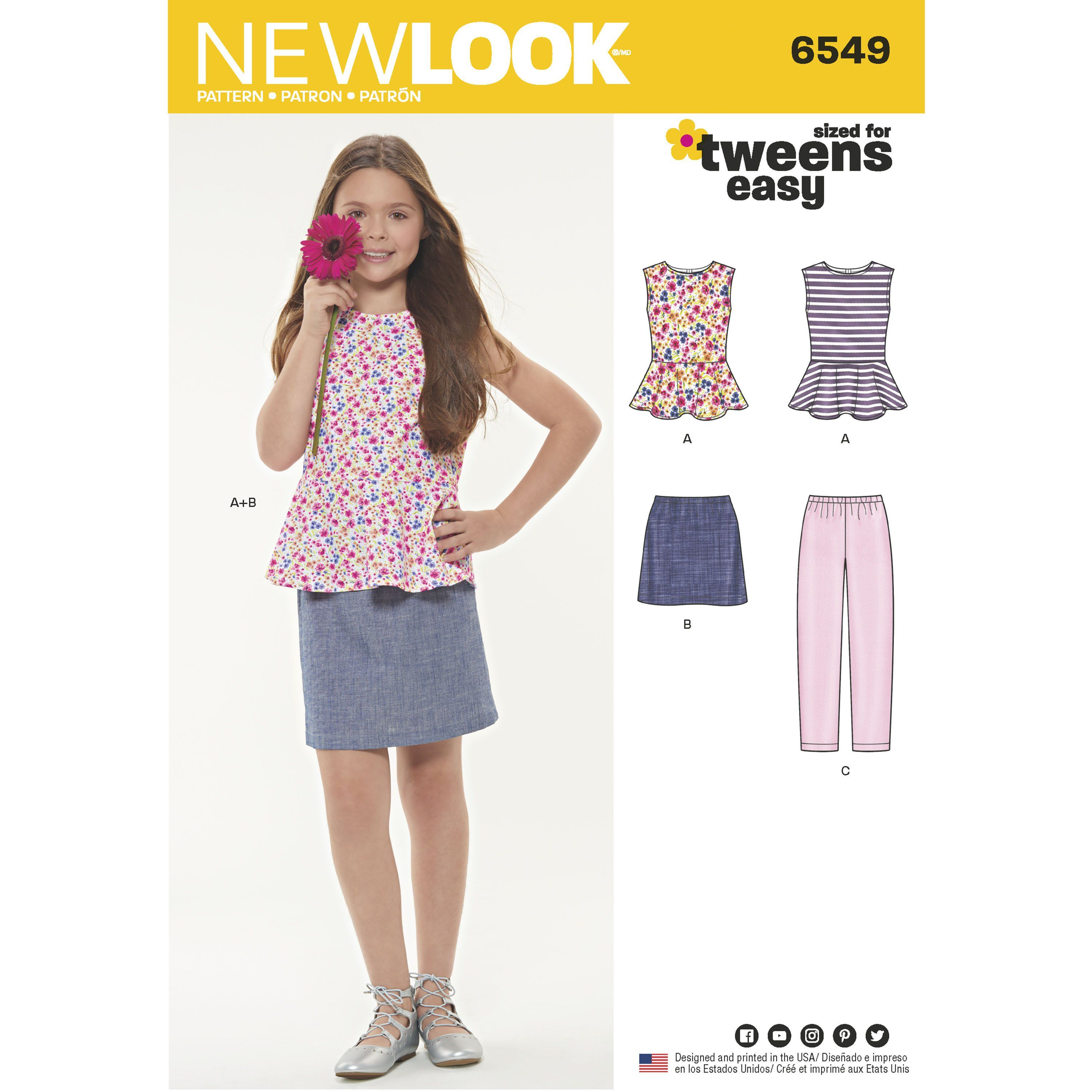 a993c2c95c1376 Purchase New Look New Look Pattern 6549 Girls' Top, Skirt and Pants and  read its pattern reviews. Find other Easy to Sew, Kids(boys & girls), sewing  ...