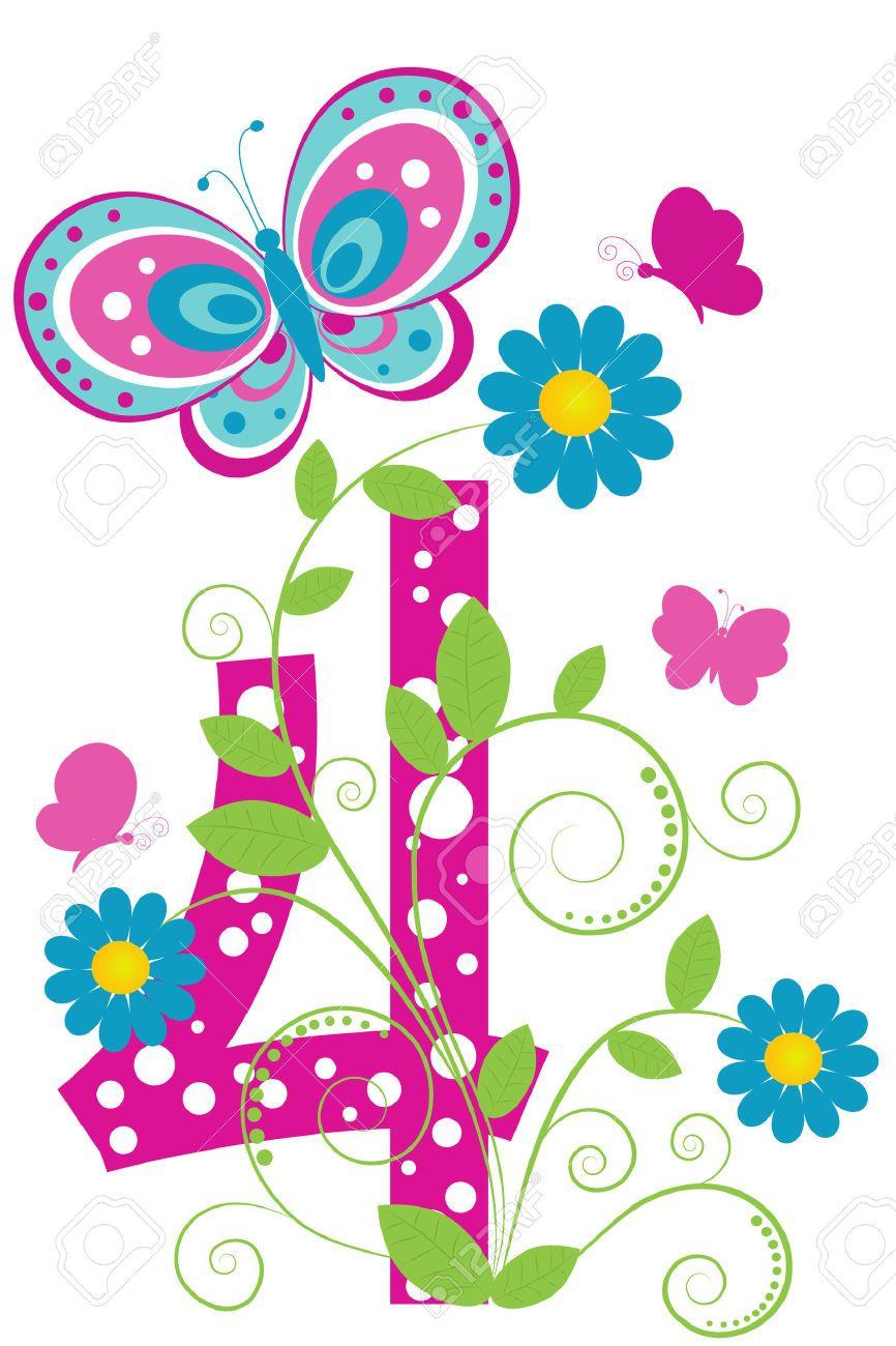 Digit Engra Ado 4 Com Flores E Borboletas Cliparts Isentas De  -> Borboleta Vetor
