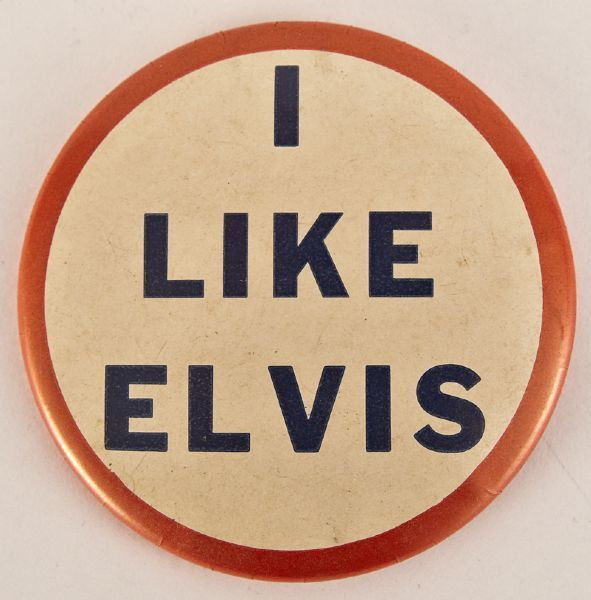 """""""I Like Elvis"""" vintage original pinback button from the 1950's. Very good condition, measures 3"""" inches diameter.Estimate: 150-250"""
