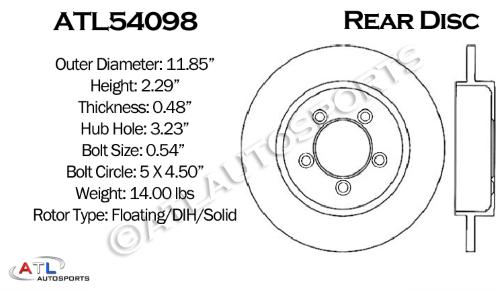 ATL Autosports Performance Brake Rotors REAR PAIR Fits