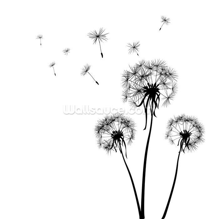 Dandelions Silhouette Wallpaper Mural Dandelion Drawing Flower Silhouette Dandelion Pictures