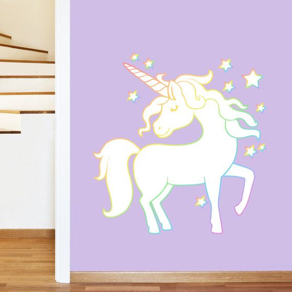 Magical White Unicorn Rainbow Stars Mural Wall Sticker Girl S
