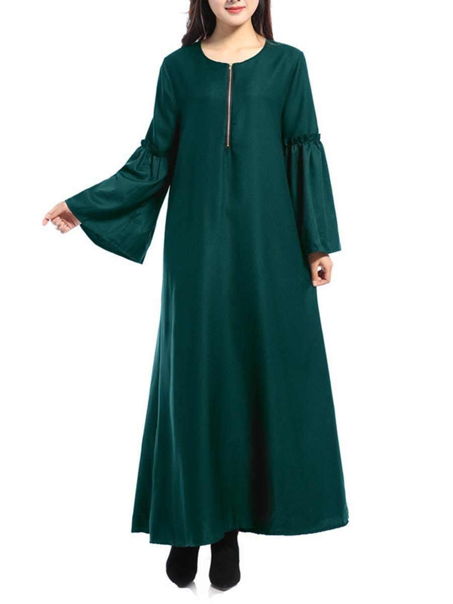Berrylook berrylook round neck zips plain bell sleeve maxi dress