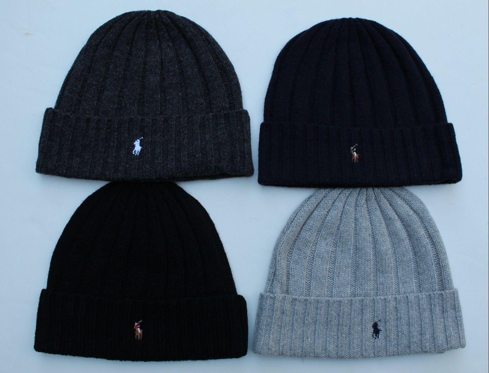 01125e5ed Hats 52365: Polo Ralph Lauren Men S Skull Cap Beanie Wool Cuffed Nwt ...