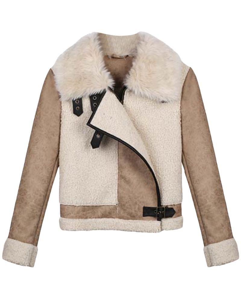 Fur-collar Fleece-seamed Buckled Biker Jacket