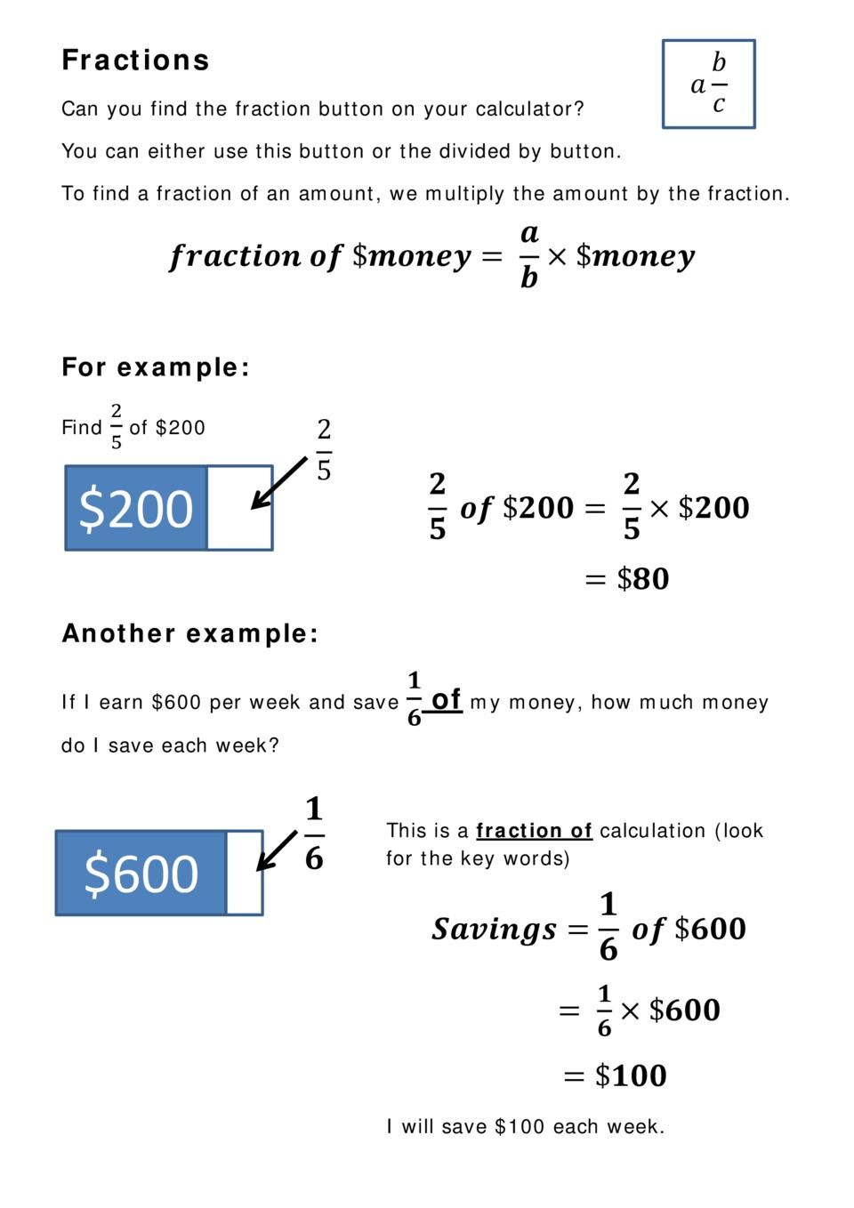 Fractions calculating fraction of a quantity made with
