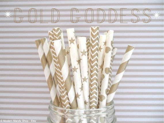 Gold Mixed Paper Straws (Gold Goddess - Pack of 25 Straws) **Weddings, Parties, Showers, Gifts** Gold Wedding, Gold Party, Gold Shower on Etsy, $4.00